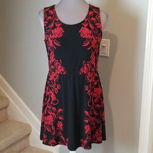SOMA fit n flare red floral mini dress Medium